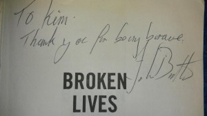 My signed Broken Lives book